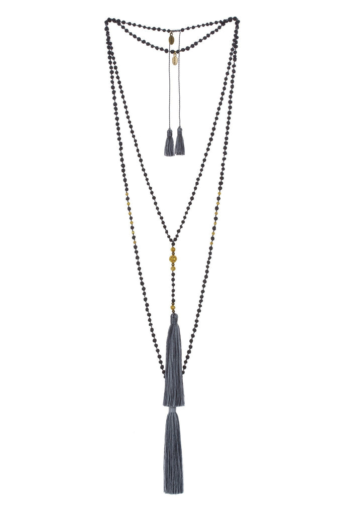 Premium Lava & Gold Stone Rosario Set in Grey Multi
