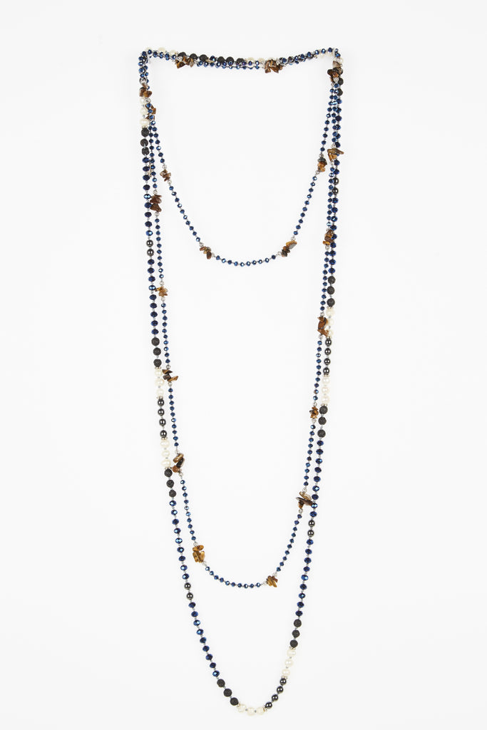 Metallic Blue Layered Set of 2 Necklaces