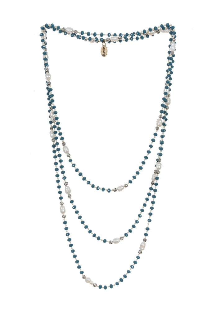 Pearl Layering Long Necklace in Turquoise