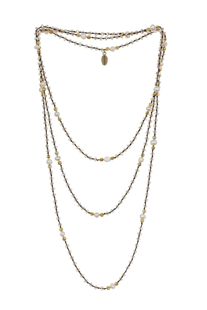 Pearl Layering Long Necklace in Amber