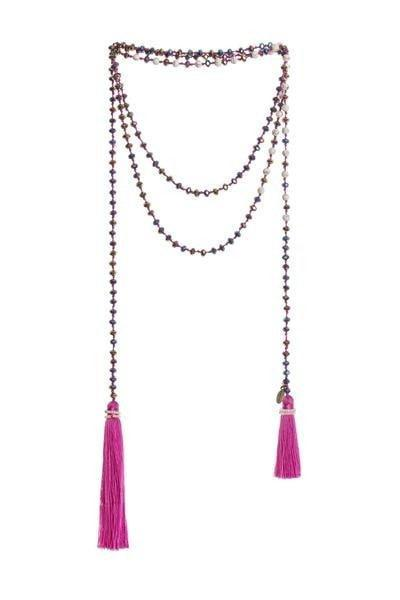 Magenta Crystal & White Stone Wrap Necklace