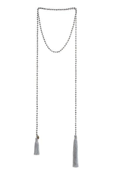 Crystal & Silver Wrap with Tassels