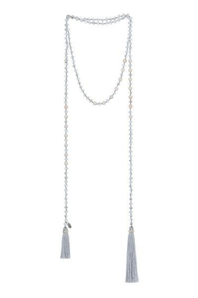 Grey Crystal & White Stone Wrap Necklace