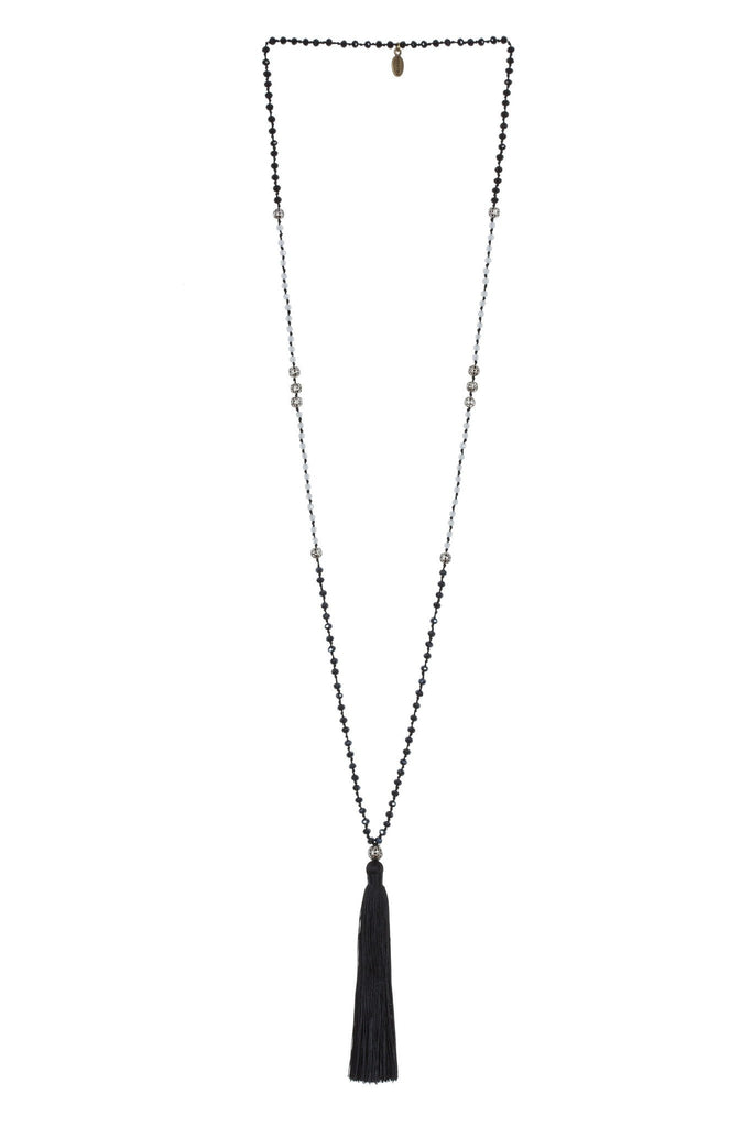Black Tassel Necklace Small Crystals - Silver Beads