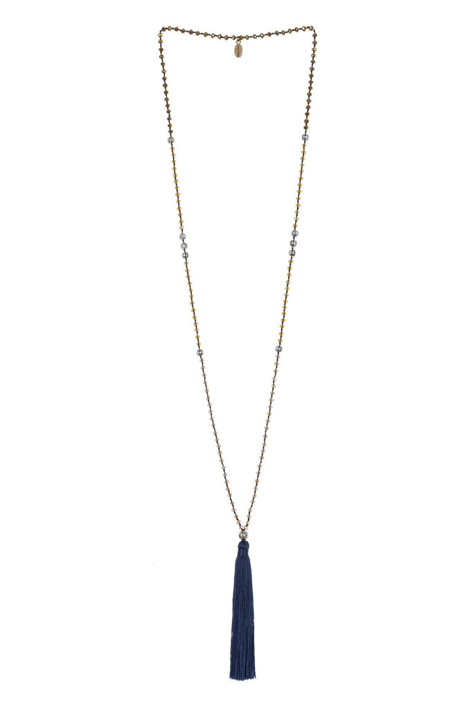 Tassel Necklace Silver Beads In Navy