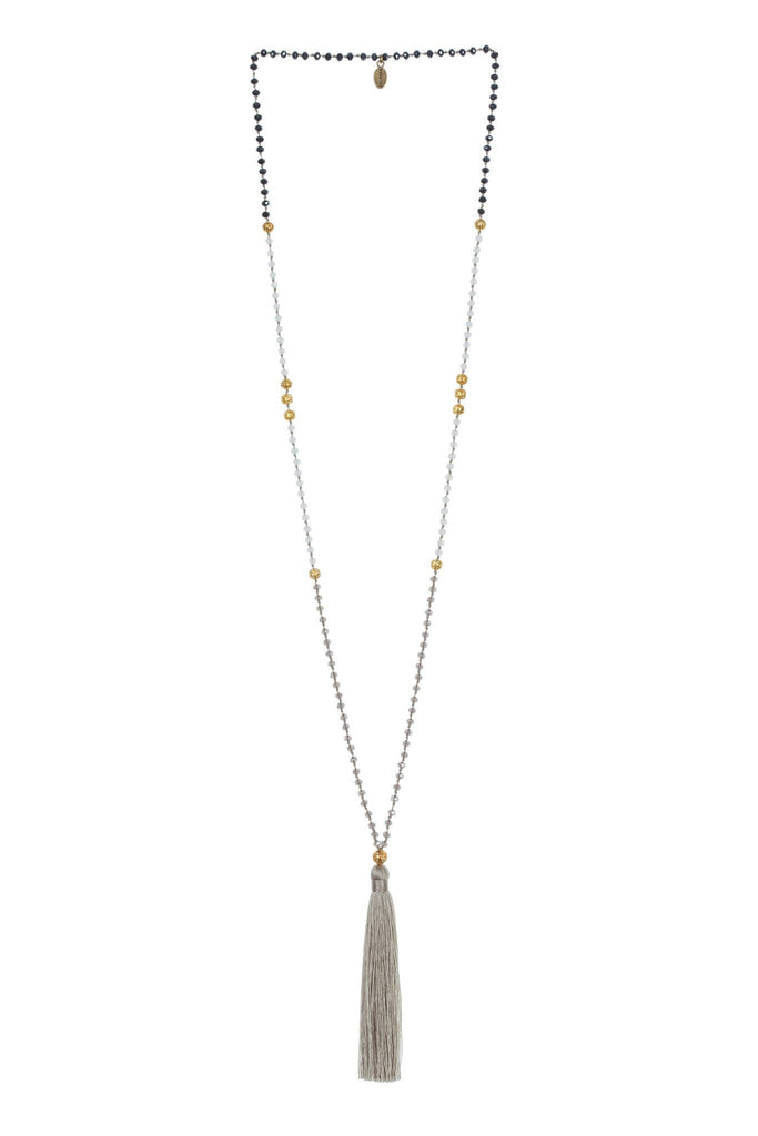 Tassel Necklace Gold Beads In Taupe