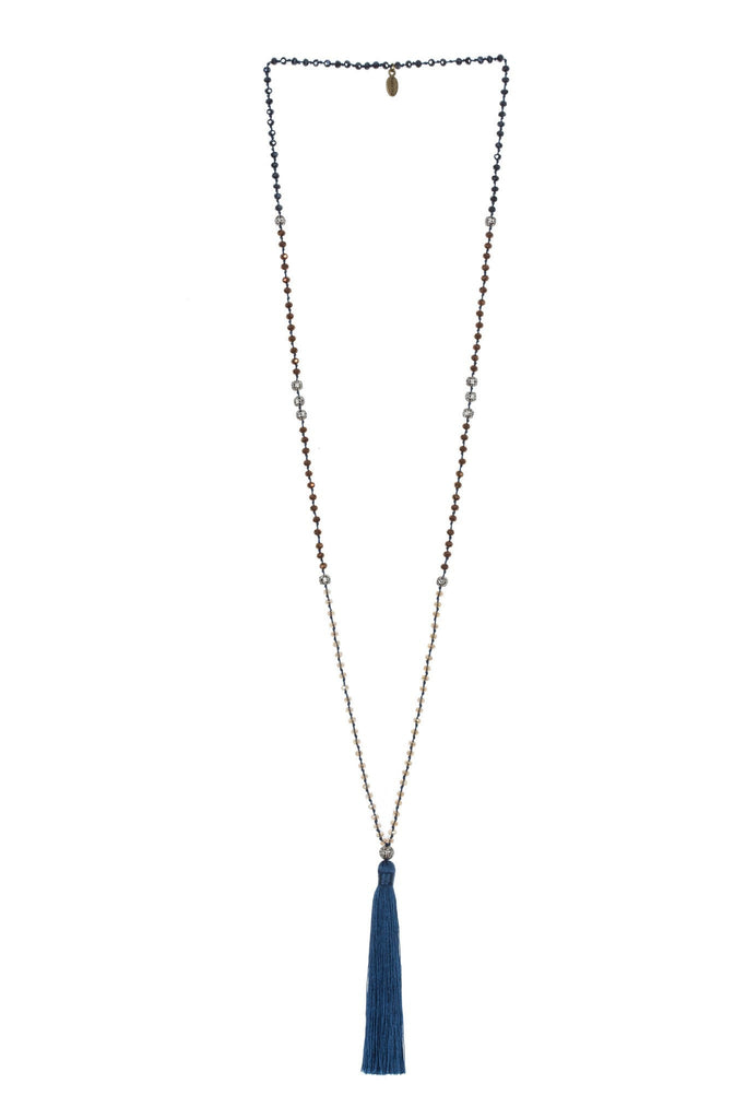 Blue Tassel Necklace Silver Beads