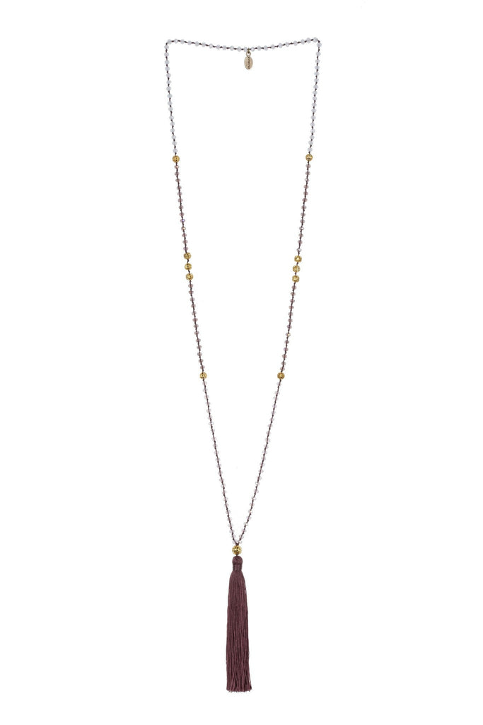 Tassel Necklace Gold Beads In Plum