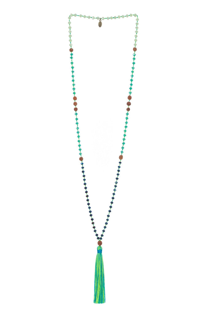 Ganitri Tassel Necklace In Neon Lime & Yellow