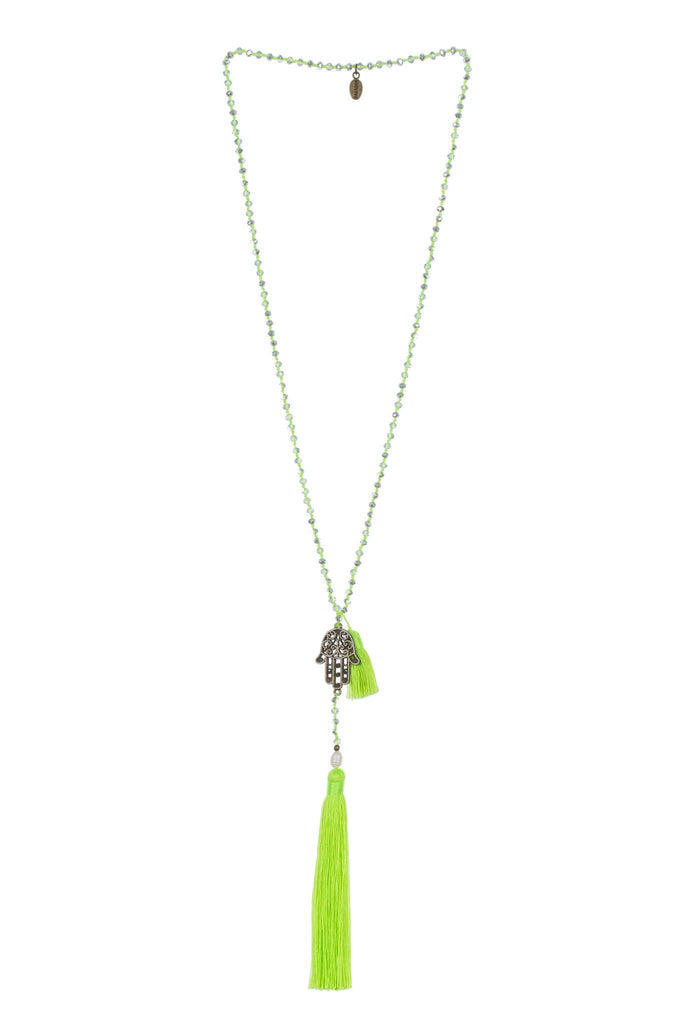 Neon Green Necklace Crystals Hamsa Mini Tassel - Fresh Water Pearl