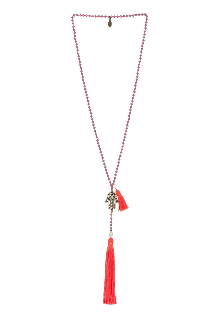 Neon Orange Necklace Crystals Hamsa Mini Tassel - Fresh Water Pearl