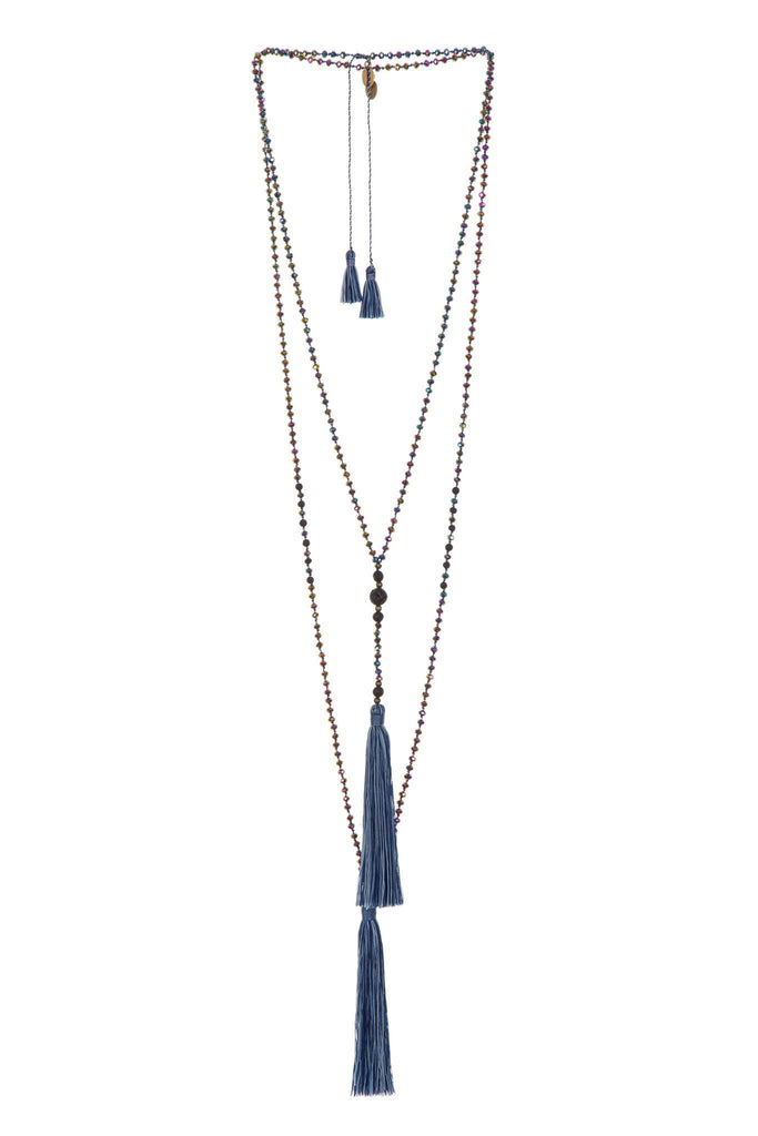 Lava Stone Rosario Set in Navy Multicolor
