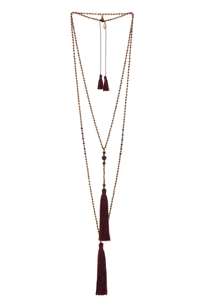 Maroon Rosario Set Of 2 Necklaces - Lava Stones And Copper Crystals