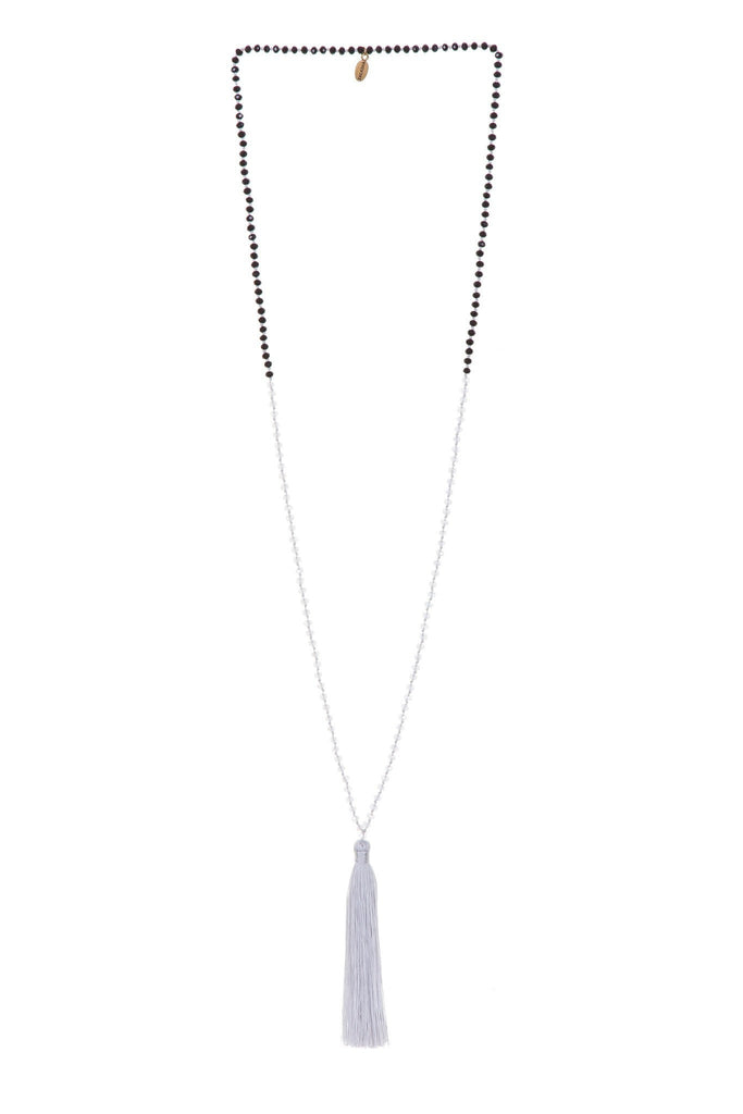 Tassel Necklace In Light Grey