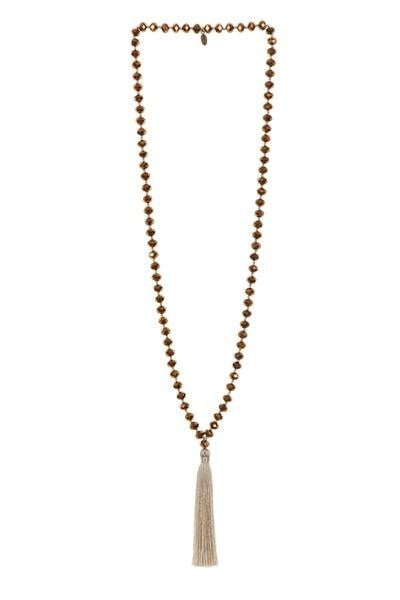 Long Crystal Necklace with Tassel