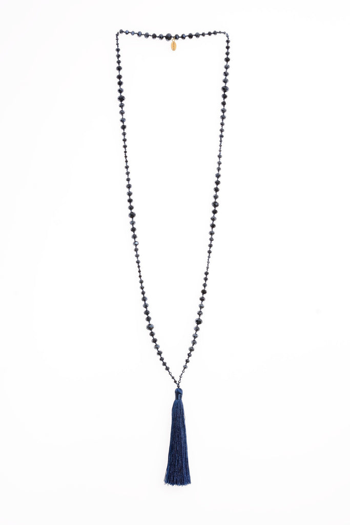 Infinity Tassel Necklace in Navy
