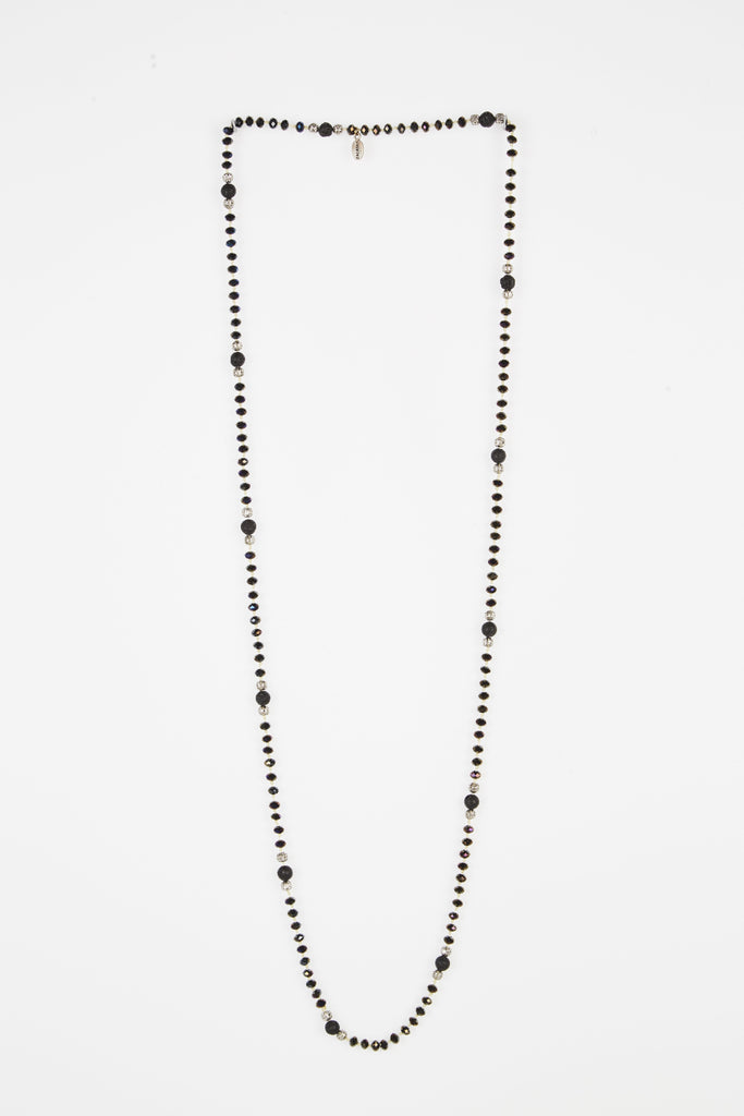 Charcoal Iridescent Layering Necklace with Lava