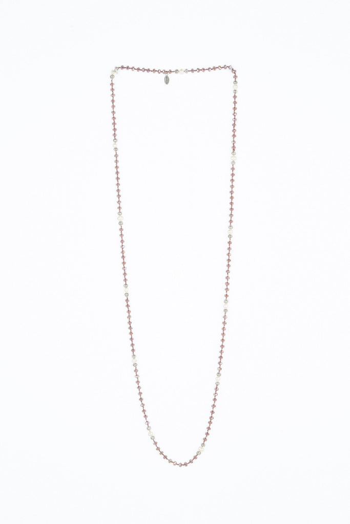 Clear Purple Layering Necklace with Pearls