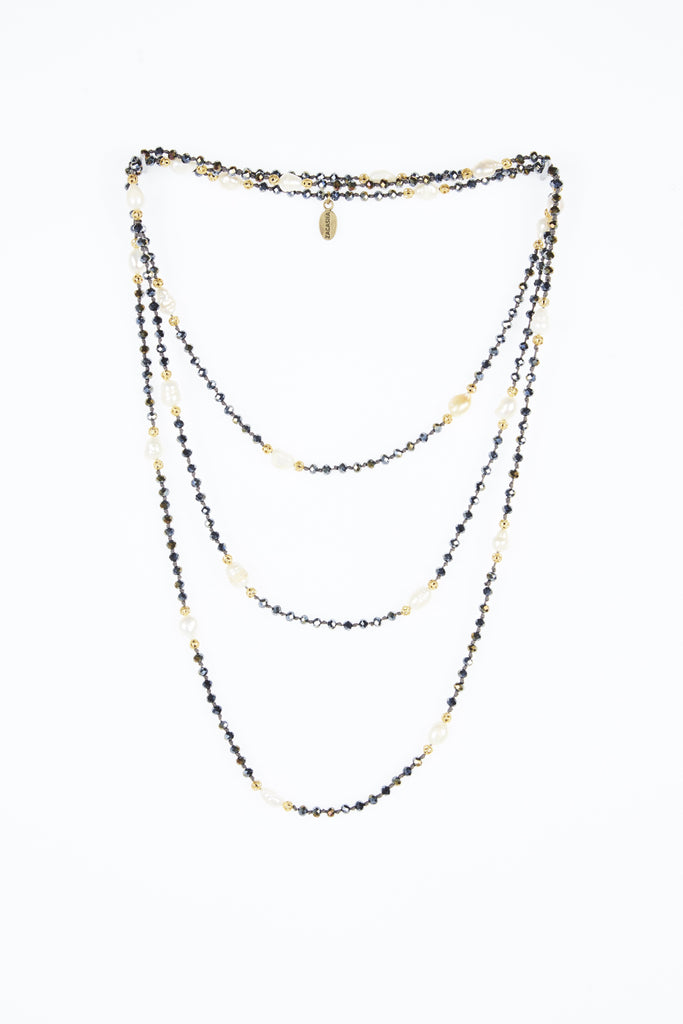 Iridescent Layering Necklace with Pearls