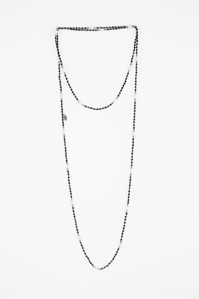 Black Layering Necklace with Pearls