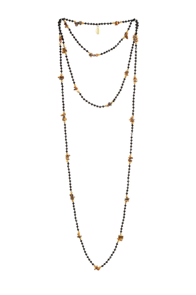 Black Layering Necklace with Tiger Eye