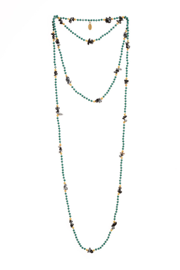 Onyx Layering Long Necklace in Turquoise