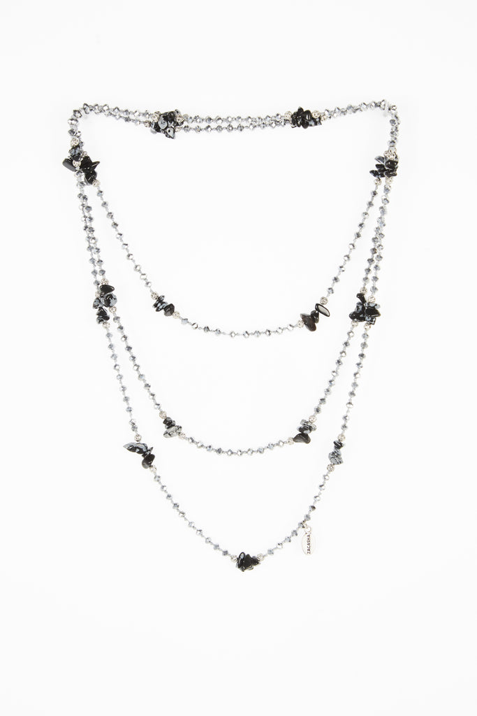 Silver Layering Necklace with Onyx