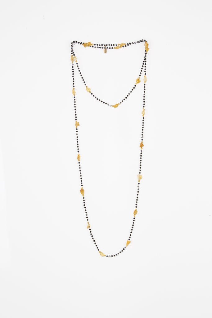 Gunmetal Layering Necklace with Amber