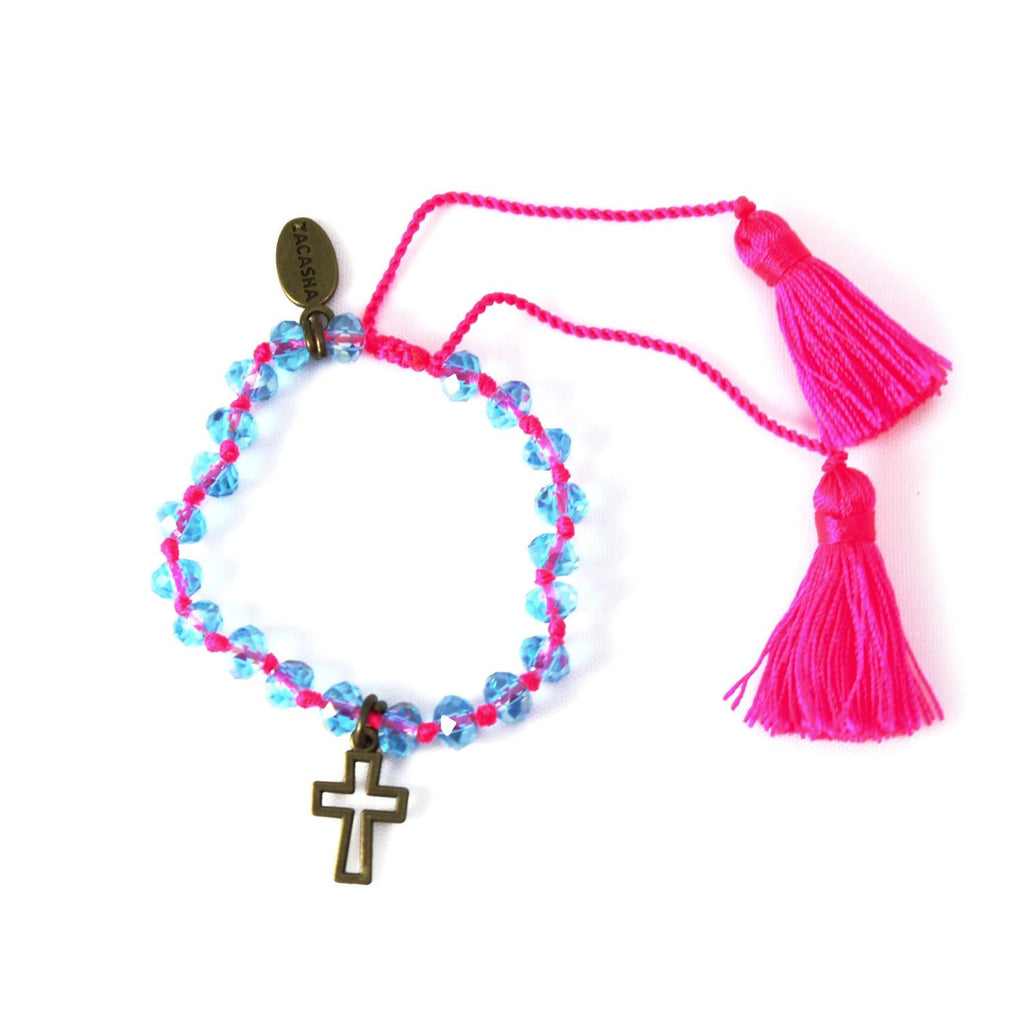 Crystal Bracelet in Neon Pink with Cross Charm