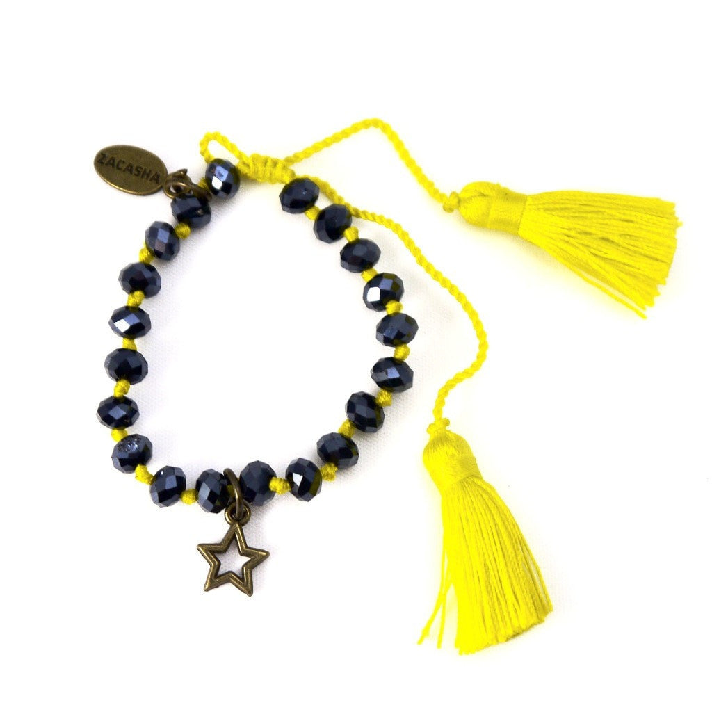 Crystal Bracelet in Yellow with Star Charm