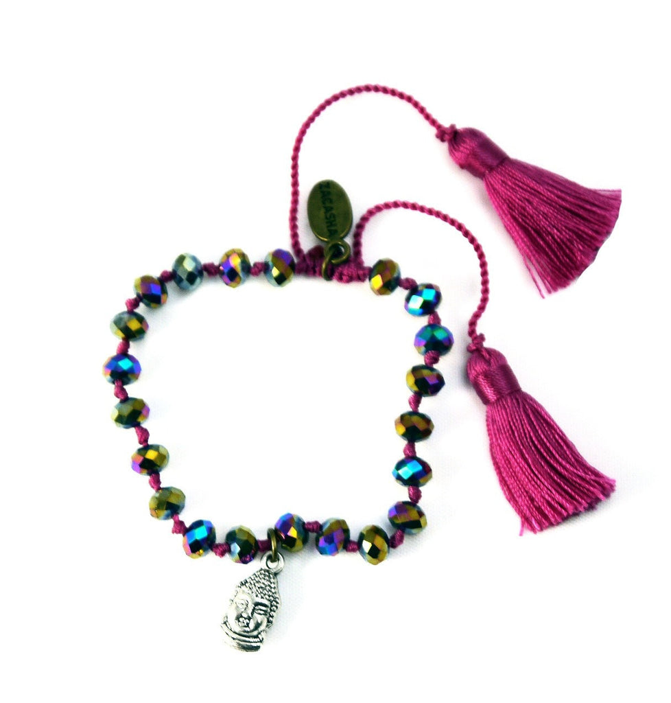 Crystal Bracelet in Mulberry with Buddha Charm