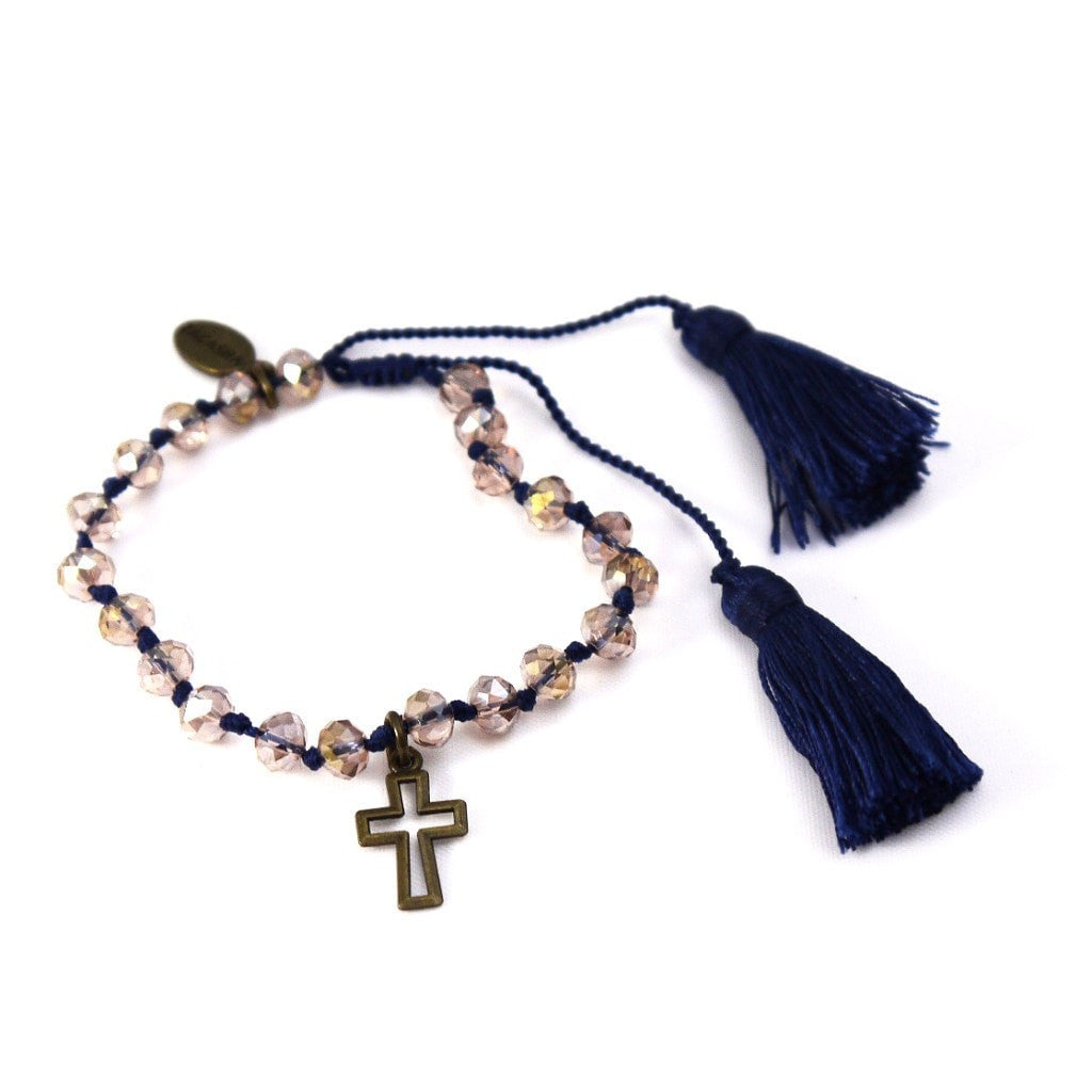 Crystal Bracelet in Navy with Cross Charm