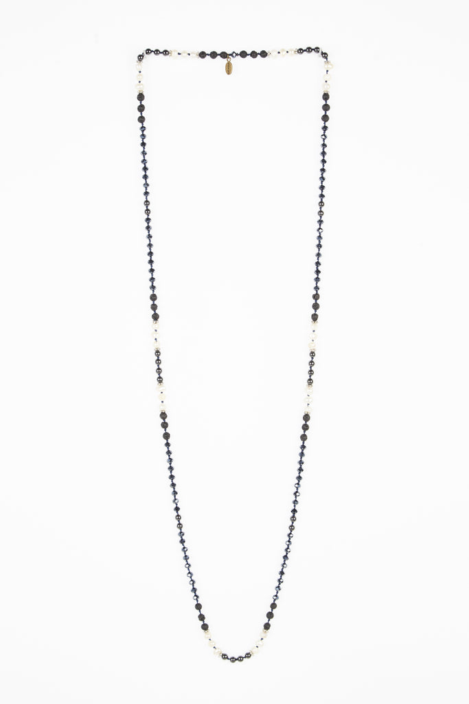 Premium Gunmetal Layering Necklace with Pearls