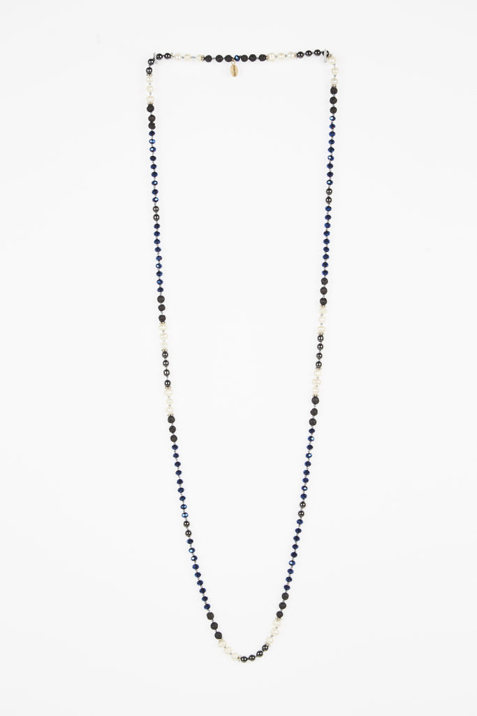 Premium Metallic Blue Layering Necklace with Pearls