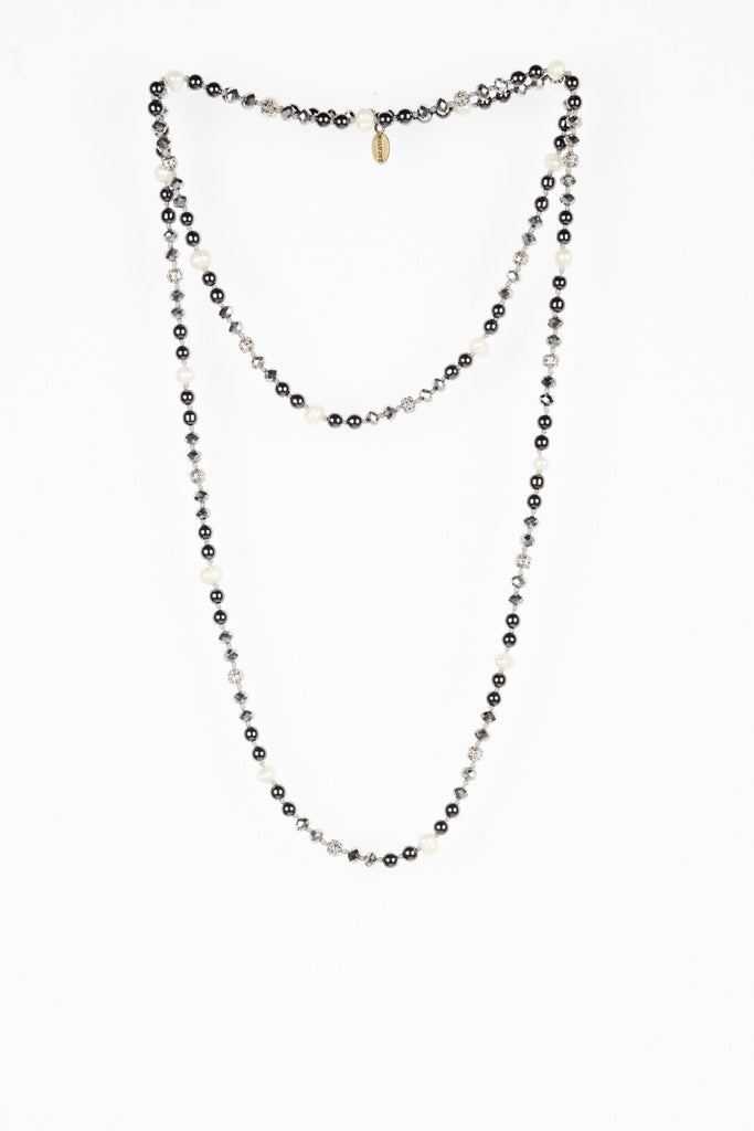 Silver Premium Layering Necklace with Hematite and Pearl