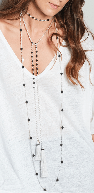 White and Lava Layered Set of 2 Necklaces