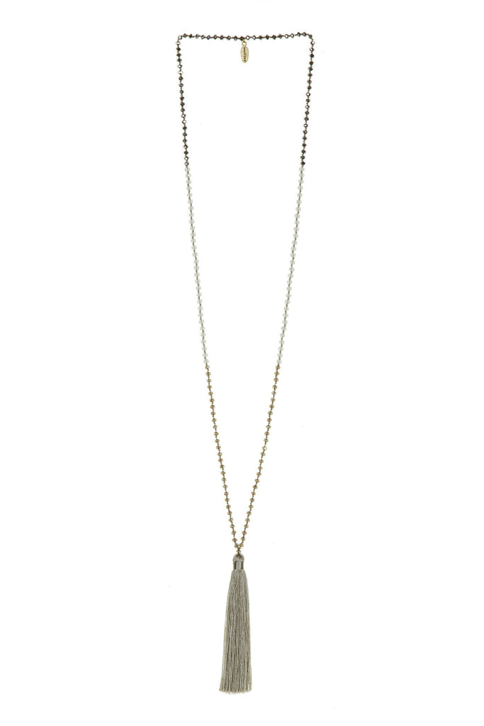 Tassel Necklace in Grullo