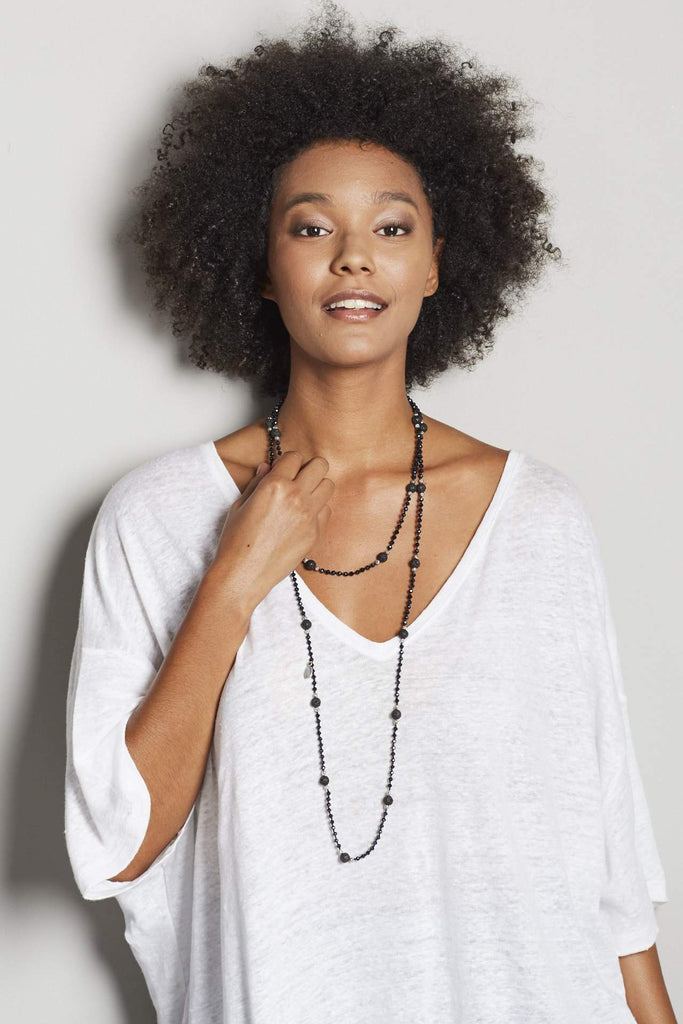 Gunmetal Layering Necklace with Lava Stones