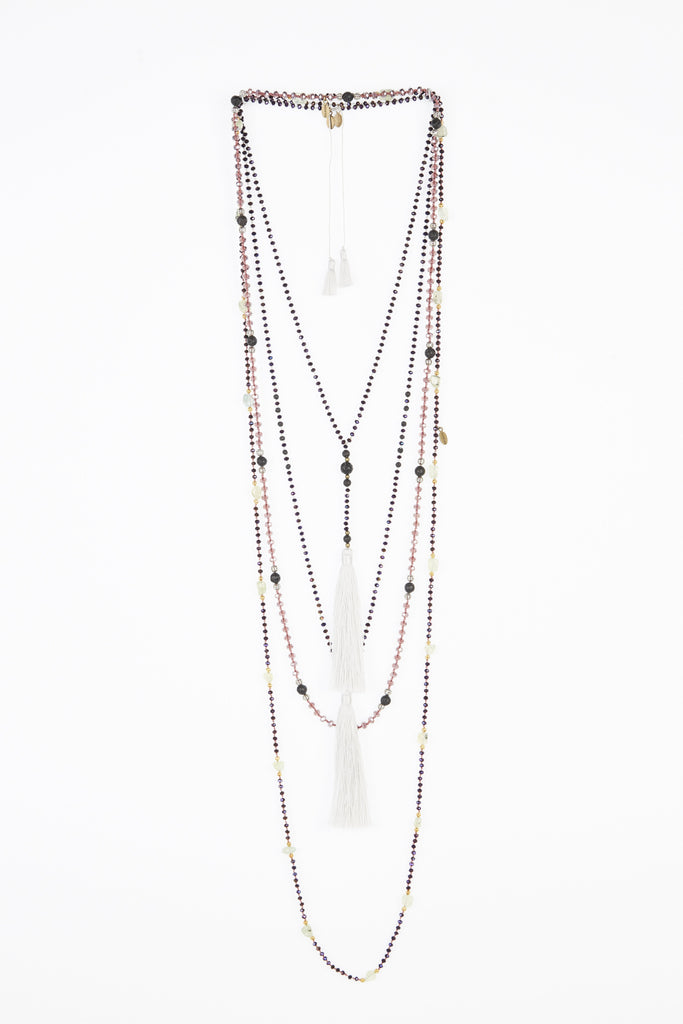 Pink and Purple Rosario Layered Set of 4 Necklaces