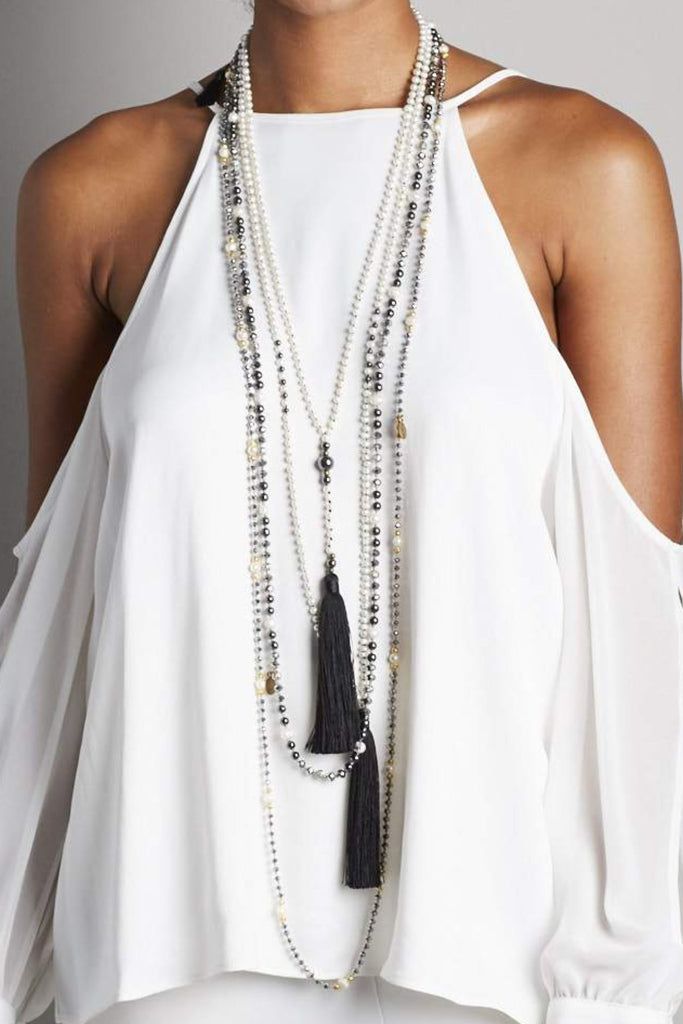 Black Tassel and Silver Layered Set of 4 Necklaces