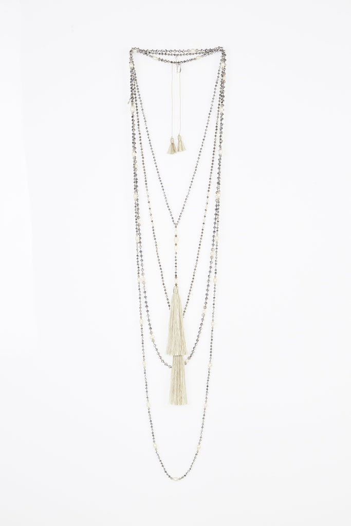 Cream and Silver Tassel Layered Set