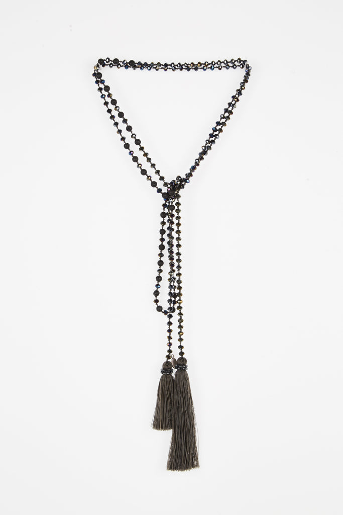 Charcoal Iridescent Wrap with Dusty Brown Tassel