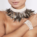 Feather Choker with Freshwater Pearls on Macrame