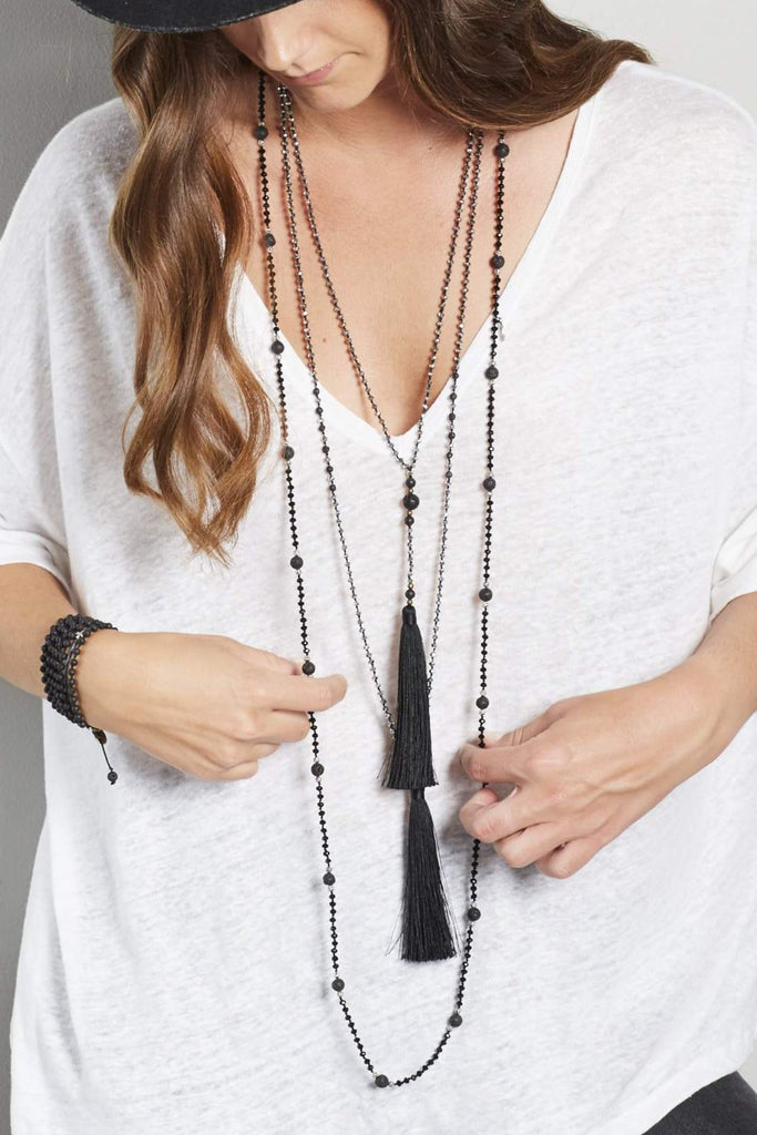 Black Rosario Layered Set of 3 Necklaces