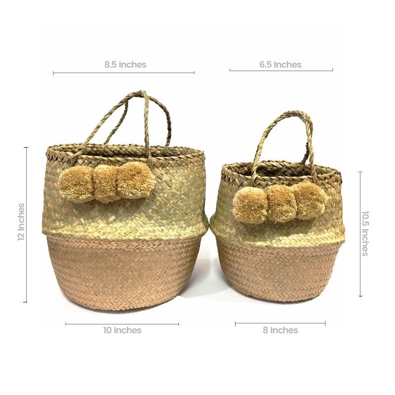 Pop Up Pompom Straw Bag - White