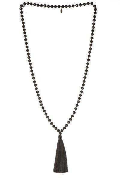Black Jumbo Crystal Necklace with Tassel