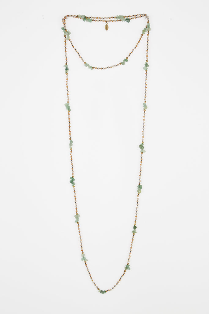 RUSTY TIE DYE CRYSTAL JADE AND GOLD LAYERING NECKLACE