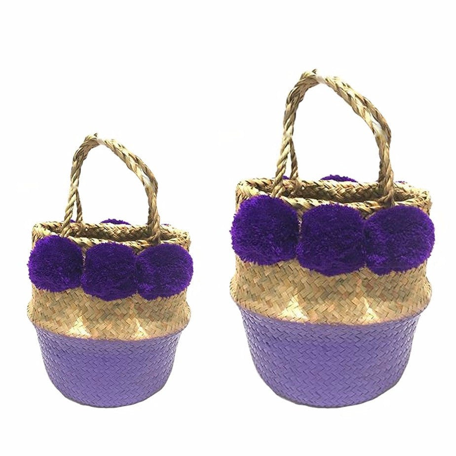 Pop Up Pompom Straw Bag - Purple