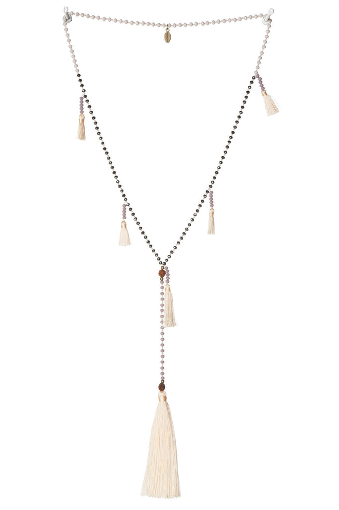 Ganitri Multi Tassels Necklace in Apricot