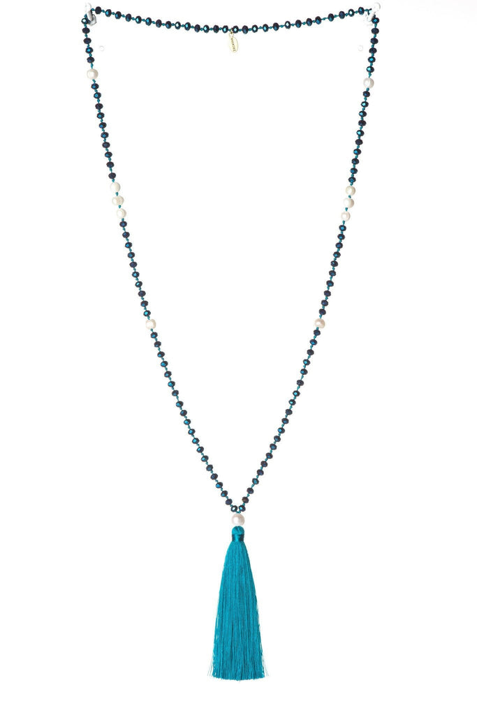Teal Tassel Necklace Medium Crystals - Fresh Water Pearls